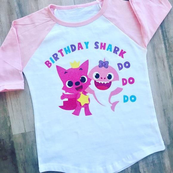 Birthday Pyjamas Pjs Personalised Shark Pink Blue Personalised